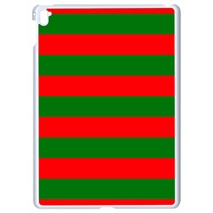 Red And Green Christmas Cabana Stripes Apple Ipad Pro 9 7   White Seamless Case by PodArtist