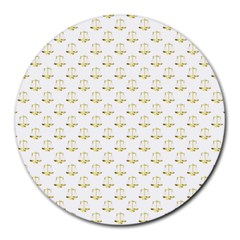 Gold Scales Of Justice On White Repeat Pattern All Over Print Round Mousepads by PodArtist