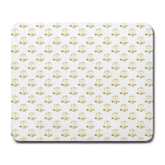 Gold Scales Of Justice On White Repeat Pattern All Over Print Large Mousepads by PodArtist