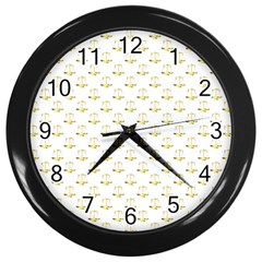 Gold Scales Of Justice On White Repeat Pattern All Over Print Wall Clocks (black) by PodArtist