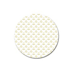 Gold Scales Of Justice On White Repeat Pattern All Over Print Magnet 3  (round) by PodArtist