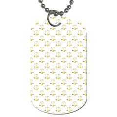 Gold Scales Of Justice On White Repeat Pattern All Over Print Dog Tag (one Side) by PodArtist