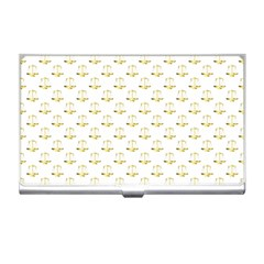 Gold Scales Of Justice On White Repeat Pattern All Over Print Business Card Holders by PodArtist