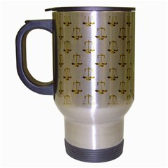 Gold Scales Of Justice On White Repeat Pattern All Over Print Travel Mug (silver Gray) by PodArtist