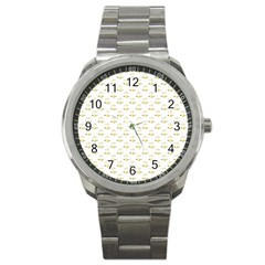 Gold Scales Of Justice On White Repeat Pattern All Over Print Sport Metal Watch by PodArtist