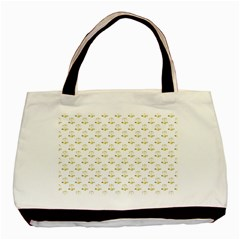 Gold Scales Of Justice On White Repeat Pattern All Over Print Basic Tote Bag by PodArtist