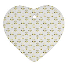 Gold Scales Of Justice On White Repeat Pattern All Over Print Heart Ornament (two Sides) by PodArtist