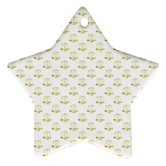 Gold Scales Of Justice On White Repeat Pattern All Over Print Star Ornament (two Sides) by PodArtist
