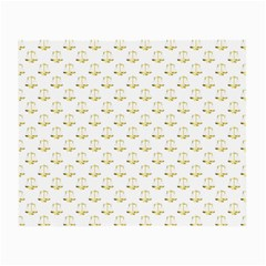 Gold Scales Of Justice On White Repeat Pattern All Over Print Small Glasses Cloth (2 Side) by PodArtist