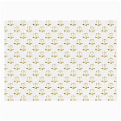 Gold Scales Of Justice On White Repeat Pattern All Over Print Large Glasses Cloth (2 Side) by PodArtist