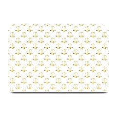 Gold Scales Of Justice On White Repeat Pattern All Over Print Plate Mats by PodArtist