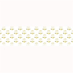 Gold Scales Of Justice On White Repeat Pattern All Over Print Large Bar Mats by PodArtist