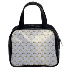 Gold Scales Of Justice On White Repeat Pattern All Over Print Classic Handbags (2 Sides) by PodArtist