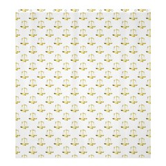 Gold Scales Of Justice On White Repeat Pattern All Over Print Shower Curtain 66  X 72  (large)  by PodArtist