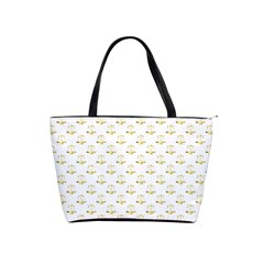 Gold Scales Of Justice On White Repeat Pattern All Over Print Shoulder Handbags by PodArtist