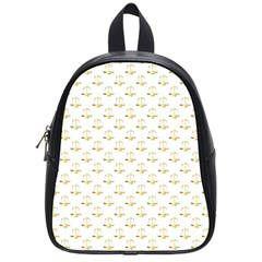 Gold Scales Of Justice On White Repeat Pattern All Over Print School Bag (small) by PodArtist