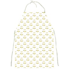 Gold Scales Of Justice On White Repeat Pattern All Over Print Full Print Aprons by PodArtist
