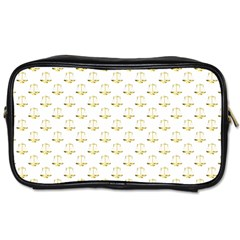 Gold Scales Of Justice On White Repeat Pattern All Over Print Toiletries Bags 2 Side by PodArtist