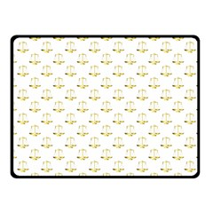 Gold Scales Of Justice On White Repeat Pattern All Over Print Fleece Blanket (small) by PodArtist