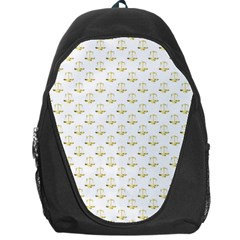Gold Scales Of Justice On White Repeat Pattern All Over Print Backpack Bag by PodArtist