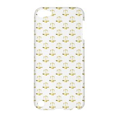 Gold Scales Of Justice On White Repeat Pattern All Over Print Apple Ipod Touch 5 Hardshell Case by PodArtist