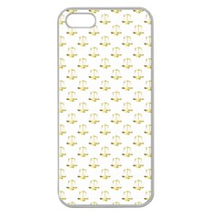 Gold Scales Of Justice On White Repeat Pattern All Over Print Apple Seamless Iphone 5 Case (clear) by PodArtist