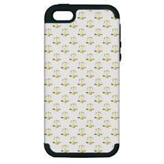 Gold Scales Of Justice On White Repeat Pattern All Over Print Apple Iphone 5 Hardshell Case (pc+silicone) by PodArtist