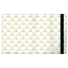 Gold Scales Of Justice On White Repeat Pattern All Over Print Apple Ipad 3/4 Flip Case by PodArtist