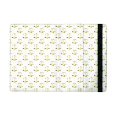 Gold Scales Of Justice On White Repeat Pattern All Over Print Apple Ipad Mini Flip Case by PodArtist