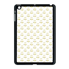 Gold Scales Of Justice On White Repeat Pattern All Over Print Apple Ipad Mini Case (black) by PodArtist