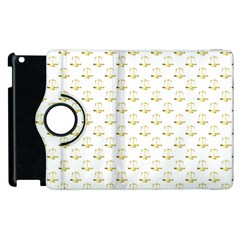 Gold Scales Of Justice On White Repeat Pattern All Over Print Apple Ipad 2 Flip 360 Case by PodArtist