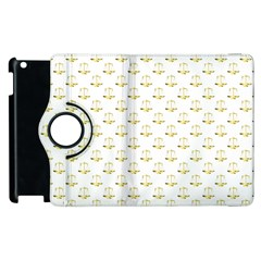 Gold Scales Of Justice On White Repeat Pattern All Over Print Apple Ipad 3/4 Flip 360 Case by PodArtist