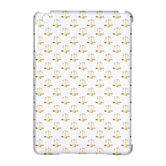Gold Scales Of Justice On White Repeat Pattern All Over Print Apple Ipad Mini Hardshell Case (compatible With Smart Cover) by PodArtist