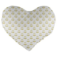 Gold Scales Of Justice On White Repeat Pattern All Over Print Large 19  Premium Heart Shape Cushions by PodArtist