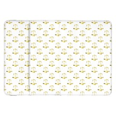 Gold Scales Of Justice On White Repeat Pattern All Over Print Samsung Galaxy Tab 8 9  P7300 Flip Case by PodArtist