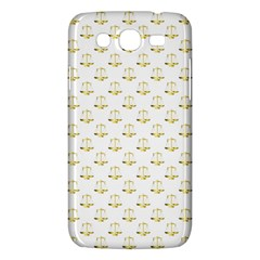 Gold Scales Of Justice On White Repeat Pattern All Over Print Samsung Galaxy Mega 5 8 I9152 Hardshell Case  by PodArtist