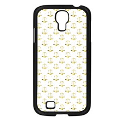 Gold Scales Of Justice On White Repeat Pattern All Over Print Samsung Galaxy S4 I9500/ I9505 Case (black) by PodArtist