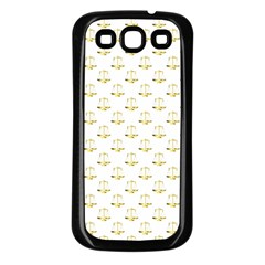 Gold Scales Of Justice On White Repeat Pattern All Over Print Samsung Galaxy S3 Back Case (black) by PodArtist