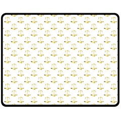 Gold Scales Of Justice On White Repeat Pattern All Over Print Double Sided Fleece Blanket (medium)  by PodArtist