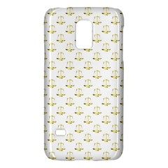 Gold Scales Of Justice On White Repeat Pattern All Over Print Galaxy S5 Mini by PodArtist