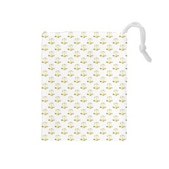 Gold Scales Of Justice On White Repeat Pattern All Over Print Drawstring Pouches (medium)  by PodArtist