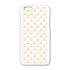 Gold Scales Of Justice On White Repeat Pattern All Over Print Apple Iphone 6/6s White Enamel Case by PodArtist