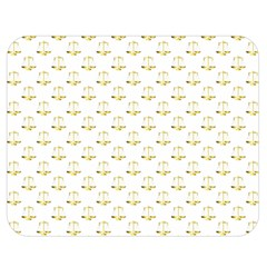 Gold Scales Of Justice On White Repeat Pattern All Over Print Double Sided Flano Blanket (medium)  by PodArtist