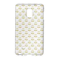 Gold Scales Of Justice On White Repeat Pattern All Over Print Galaxy Note Edge by PodArtist