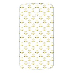 Gold Scales Of Justice On White Repeat Pattern All Over Print Samsung Galaxy Mega I9200 Hardshell Back Case by PodArtist
