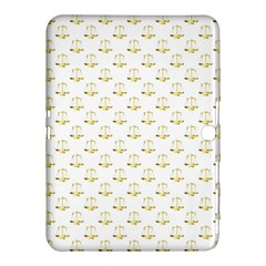 Gold Scales Of Justice On White Repeat Pattern All Over Print Samsung Galaxy Tab 4 (10 1 ) Hardshell Case  by PodArtist