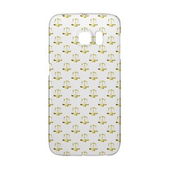 Gold Scales Of Justice On White Repeat Pattern All Over Print Galaxy S6 Edge by PodArtist