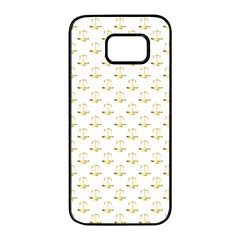 Gold Scales Of Justice On White Repeat Pattern All Over Print Samsung Galaxy S7 Edge Black Seamless Case by PodArtist