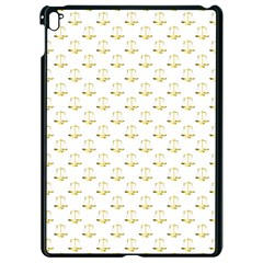 Gold Scales Of Justice On White Repeat Pattern All Over Print Apple Ipad Pro 9 7   Black Seamless Case by PodArtist