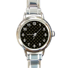 Gold Scales Of Justice On Black Repeat Pattern All Over Print  Round Italian Charm Watch by PodArtist